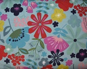 Pretty Poppies in Soft Teal 54 inch wide Cotton Knit Fabric from Alexander Henry sold in 1/2 yard increments