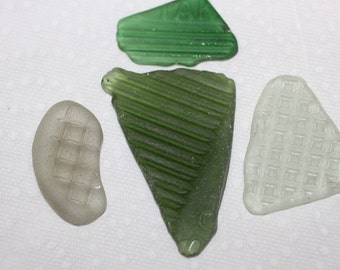AWESOME PATTERNED BEACHGLASS Foursome of wonderful textured beach glass jewels zy339