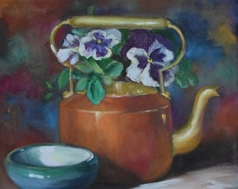 Small Painting, Still Life Art,Pansies In Brass And Copper Teapot,Original Oil Painting on Canvas by Cheri Wollenberg