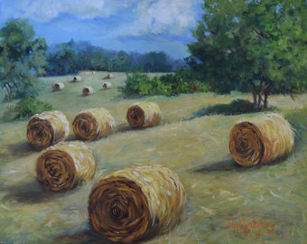 Landscape Painting Round Hay Bales Countryside Trees Clouds And Sky,Original Oil Painting Cheri Wollenberg