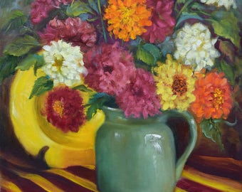 Painting Still Life Fine Art Brilliant Warm Red Yellow Floral Bouquet Art Canvas Original Oil Painting by Cheri Wollenberg