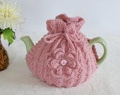 On Sale, Large Size Hand Knitted Rose Pink Tea cosy and Coasters Set, Valentines Day