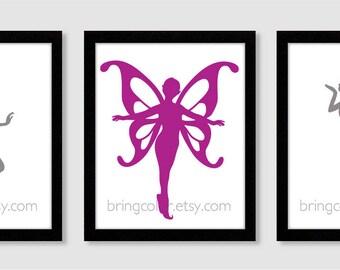 Fairies Silhouette Set of 3 Wall Art Print 8X10 for nursery or girls room