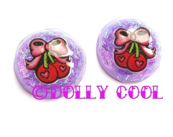 Cherry Bow Earrings Lucite Confetti style by Dolly Cool