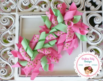 New Item---2 Boutique KORKER Hair Bows--Mint Green & Hot Pink Dots-----
