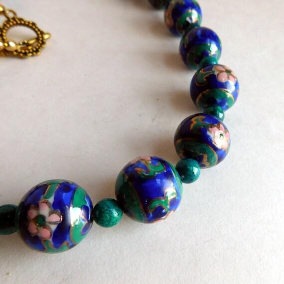Ceramic Bead Beads: Vintage Hand-Painted Ceramic Bead Necklace Artisan Made