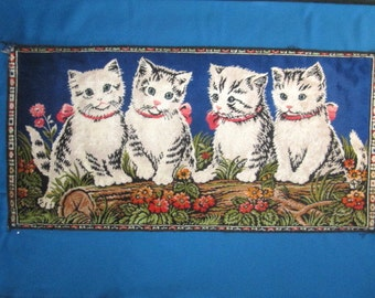 Vintage Rayon Wall Hanging Rug with Adorable Kitty Cat Design