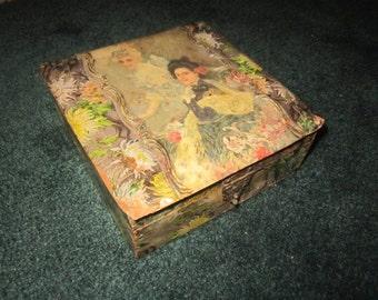 Antique Edwardian Celluloid Collar Box with Beautiful Women Design
