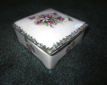 Vintage Lovely White Porcelain Ashtray Set in Covered Box with Violets Floral Design