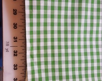 Vintage cotton Green White Gingham check BTY