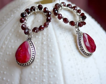 Pink Ruby Earrings. Sterling Silver Ruby and Garnet Earrings. Gift For Her. July Birthstone.  Fine Statement Jewelry.