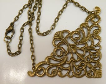 Boho Long Necklace Blank Antiqued Brass Stamping To Bead Fringe Or Embelish