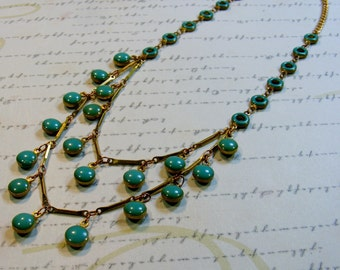 Double Mint-turquoise green drops, gold chain, bib, two tier necklace, 21 3/4 inches or 55 cm
