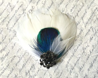 Ivory and Peacock Feather Bridal Hair Clip With Black Crystal Rhinestone - MILA PETITE PEACOCK