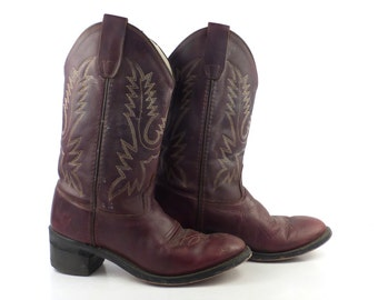 Kids Cowboy Boots Vintage 1980s Brown Leather Old West Boots Kids size 3 1/2