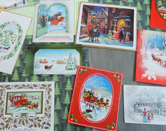 Victorian or Colonial Holidays as Depicted by Mid Century Artists in Vintage Christmas Card Lot No 836 Lot of 12