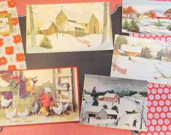Grandma Moses and Other Artists Illustrate Winter in Vintage Christmas Card Lot No 961 Total of 10