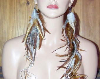 Brown Feather Earrings, Gold Feather Earrings, Natural Mix, Blonde Feathers, Brown Feathers, Big Earrings, Single Earrings, Big Feathers