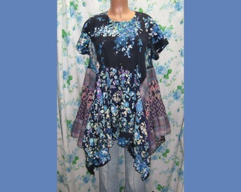 """Upcycled up to 44"""" Bust,1X, Blue Flower Tunic, Junk Gypsy Style,Hippie,altered couture tunic,Urban Chic,Eclectic Tunic,Ewa I Walla, Q365"""