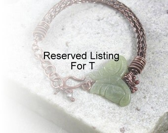 Reserved Listing For T, Copper Butterfly Bracelet, Charm Bracelet, Dangle Bracelet, Antique Copper Bracelet, Rustic, Wire Wrapped, Canada