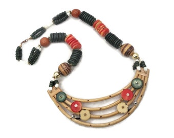 Oversized Necklace, Vintage Necklace, Wooden Handcrafted, Green, Red, Bold Statement, Wood Beads, Boho Hippie, 1980s 80s, Big Massive Chunky