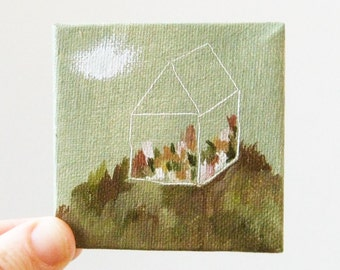 flower house / original painting on canvas