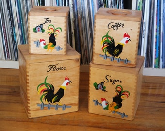 Vintage Set of Four Wooden Rooster Canisters, Made in Japan