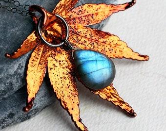 "Labradorite Necklace, Labradorite Jewelry, Real Leaf Necklace, Copper, Oxidized Sterling Silver - ""Autumn Blaze"" by CircesHouse"
