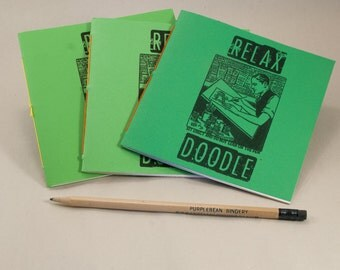 3 Doodle Coloring Books with Fun Black & White Prints and Sturdy Green Covers