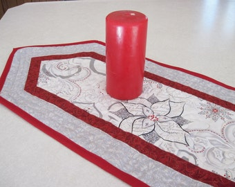 Quilted table runner  Winter  poinsettia Reversible white silver red  Quiltsy Handmade