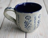 12 oz. Coffee Mug in Natural White and Navy Blue Glaze with Floral Motif Design Pottery Mug Made in USA Ready to Ship
