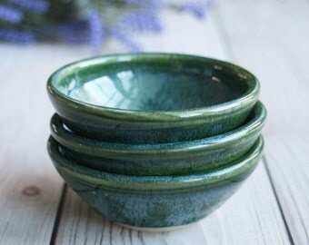 Set of Three Green Stoneware Prep Bowls Small Ceramic Kitchen Bowls Handmade in USA Ready to Ship