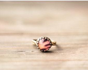 Orange spotted ring - Flower jewelry - Adjustable ring - Alstroemeria - Bloom collection by BeautySpot (R067)