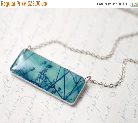 Blue necklace - Winter tree necklace - Tree branches necklace - Photo art necklace - Winter tree jewelry - Tree branches jewelry (N020)