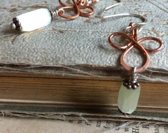 Mixed Metal Copper and Steerling Silver Power of Three Repurposed Vintage Bead Earrings