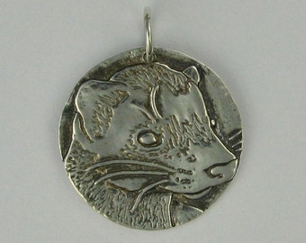 Ferret fine silver pendant charm recycled metal clay DTPD