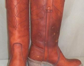 ON SALE Vintage Miss Capezio BOHO Leather Cowboy Boots Womens 6 M