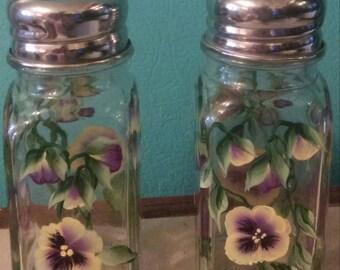Handpainted Pansies Glass Salt Pepper Shakers Flowers