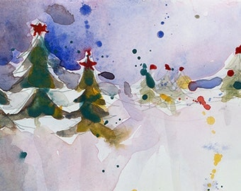Christmas Holiday Watercolor - Winter Snowy  - Original Art or Print