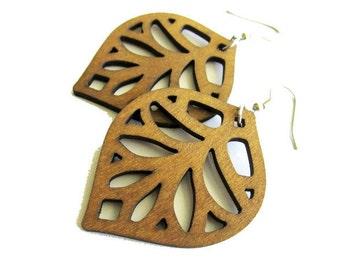 Coffee Brown Dyed Wooden Leaf Dangle Earrings