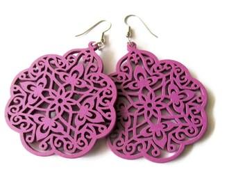 Large Purple Moroccan Style Wooden Filigree Earrings, Hippie Boho Style Mandala Design Earrings, Lightweight Big Statement Earrings