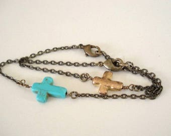 Cross Bracelet Sideways Turquoise Cross Bracelet Gold Cross Bracelet Sideways Bross Bracelet Cross Chain Bracelet Friend Bracelet