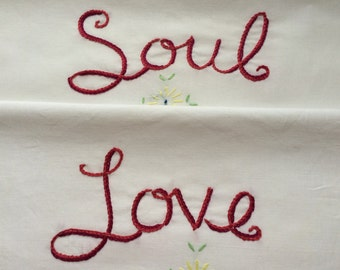 Soul Love, Pillowcases, David Bowie, Hand embroidered, Couples gift, Boho bedroom, Vintage decor