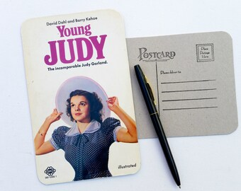 Young Judy, Upcycled paperback book postcard