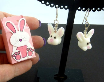 Handmade Glass Rabbit or Bunny Earrings and Handmade Rabbit Gift Box.   Easter Dangle Earrings.  STERLING SILVER ear wires.