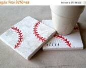 ON SALE Baseball Coasters - Personalized Father's Day Gift - Baseball Lover - Sports Home Decor - Man Cave Tile Drink Holders - Groomsmen Gi