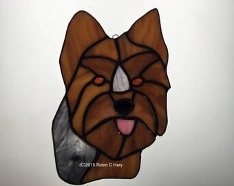 Yorkie in Stained Glass