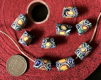 Vintage Matched Barrel Shaped AfricanTrade Beads with Angle Ends x 9