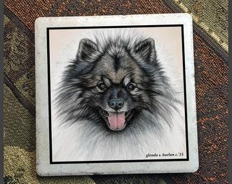 Keeshond Dog 6 inch Decorative Tile Trivet