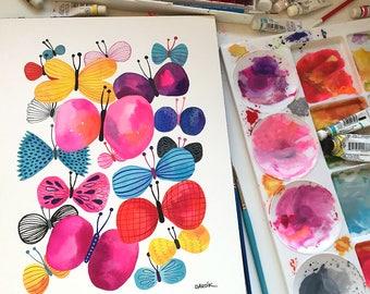 Butterflies... original watercolor... 9 in x 12 in...